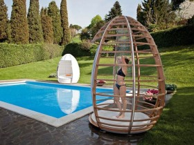 Outdoor shower in the style of hi-tech