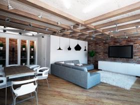 Совмещенная гостиная в стиле лофт