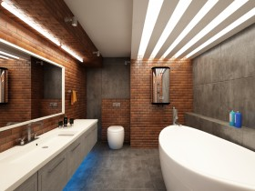 Bathroom in loft-style with concealed lighting