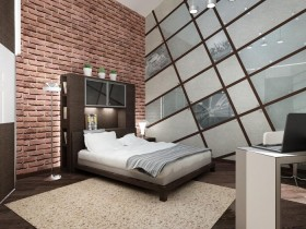 The bedroom interior design with brick wall