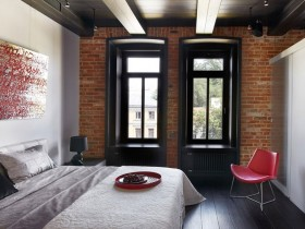 Bedroom decoration with brick wall