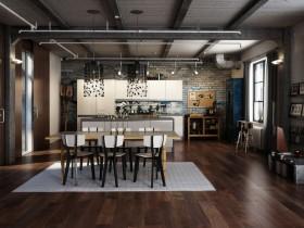 Вялікая сумешчаная кухня з цаглянымі сценамі, стыль лофт