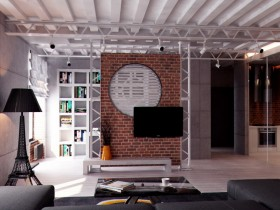 Creative living room in loft style