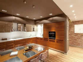 Modern kitchen with dining room in loft style