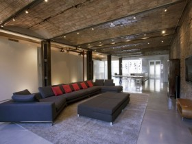 Large living room in loft style
