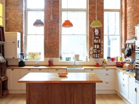 Bright kitchen with large Windows, loft-style