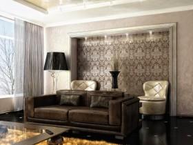 Современная маленькая гостиная с темным диваном