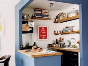 The idea of a small design blue kitchen