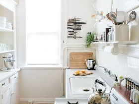 Interior white kitchen of small size