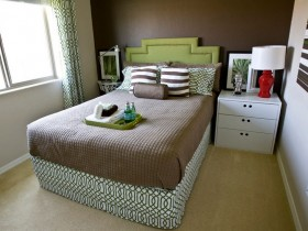 Small dark green bedroom