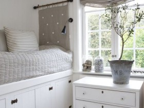Gray and white small bedroom
