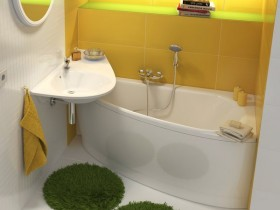 The interior of a small bathroom in yellow color