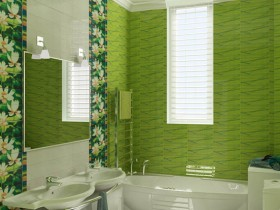 Small bathroom in green color