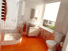Small bathroom orange colour