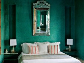Bedroom dark green shade