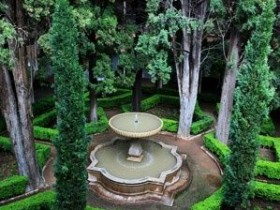 The fountain in the center of the garden