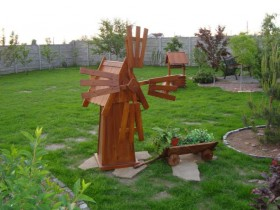 Wooden, decorative windmill