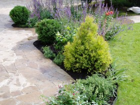 Mixborders between the lawn and the garden path