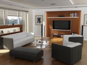 The design of the living room in the style of modernism