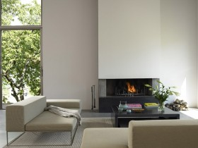 Living room with fireplace in modern style