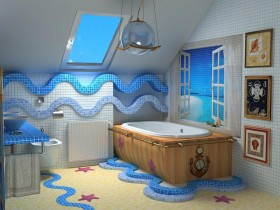 The design of the bathroom in a marine style