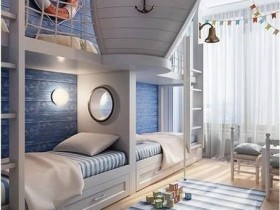 Large children's room in marine style