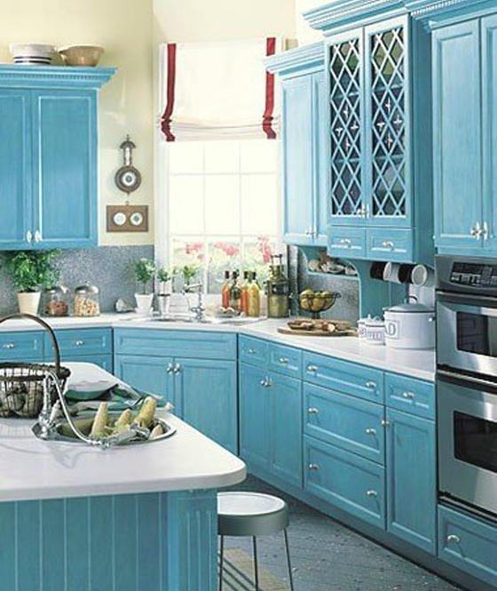 Голубая кухня дизайн