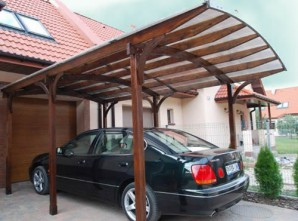 Carport polycarbonate, corrugated Board and wood with their hands.
