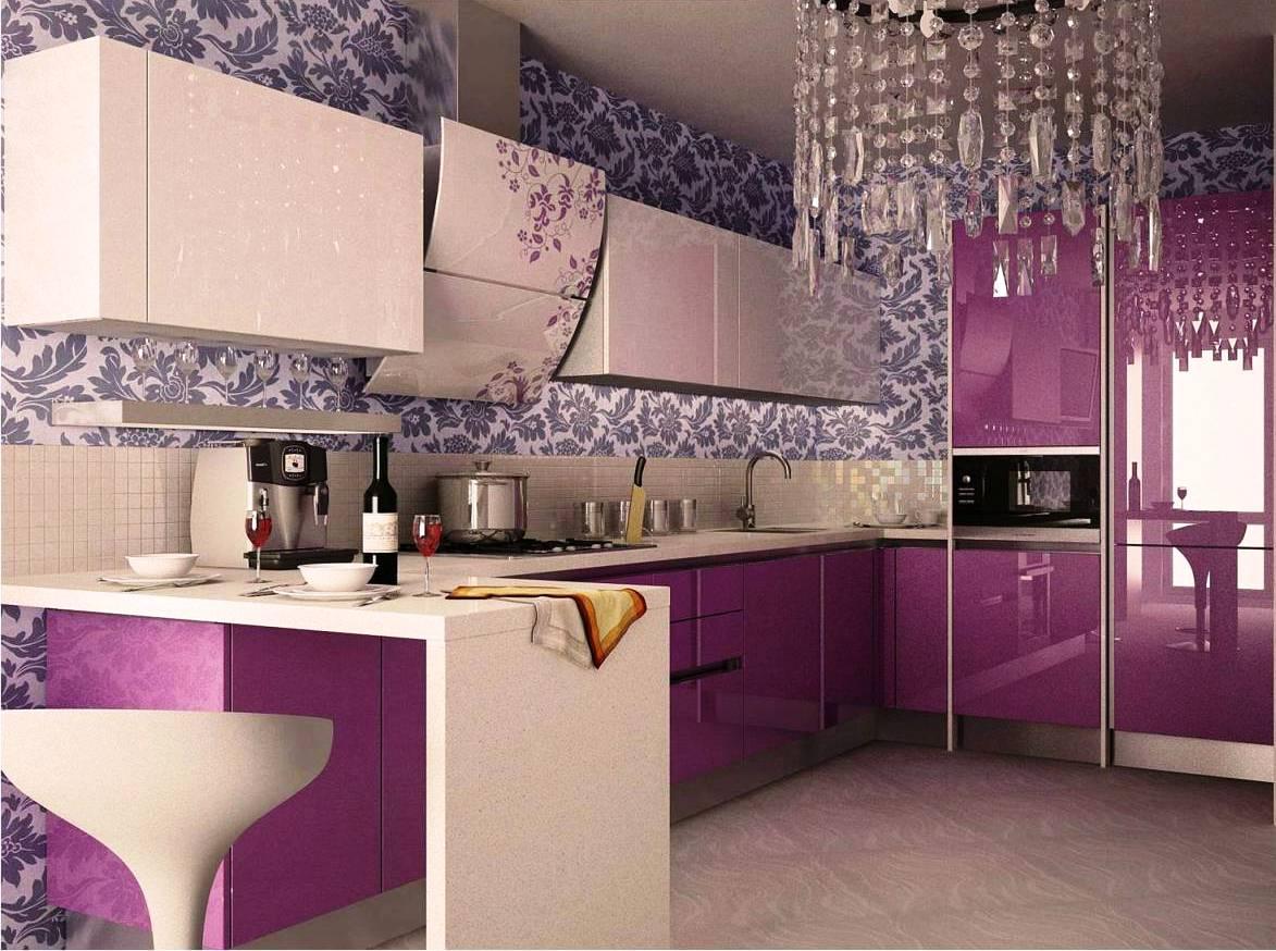 Фиолетовый интерьер кухни фото 142