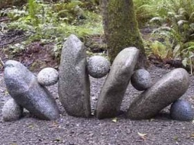 Garden sculpture made of stones