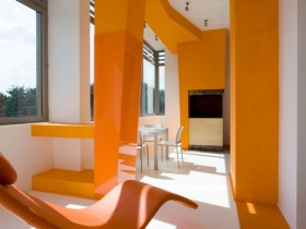 The orange apartment interior in the style of minimalism