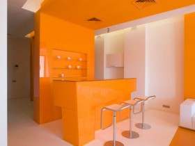 Interior design orange kitchen in the apartment