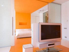 The interior of living room in orange color