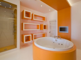 Bright bathroom with bathtub in the center