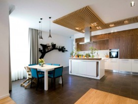 Modern kitchen, combined with living room