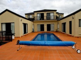 Outdoor pool with protection