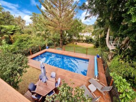 Outdoor pool with relaxation area