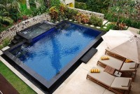 The unusual design of the outdoor pool
