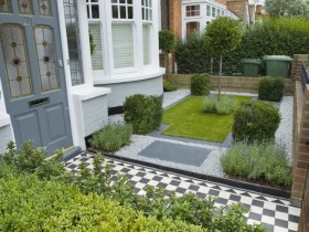 Stylish front garden with topiary and a lawn