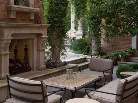 Patio near the fireplace