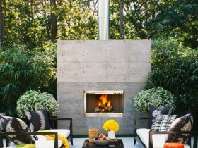 Stylish patio near the outdoor fireplace