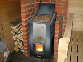 Wood burning stove for baths