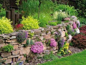 The original retaining wall of flowers
