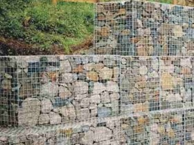The original retaining wall of gabions