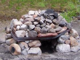 Нагрев камней для походной бани