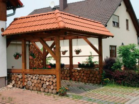 Storing firewood in the gazebo