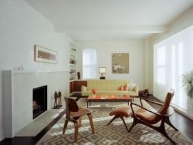 Original living room design with fireplace