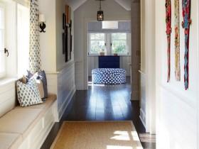 Long bright hallway in a Mediterranean style