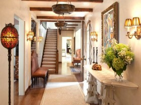 Interior design long hallway in a private house
