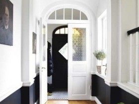 Long black and white hallway